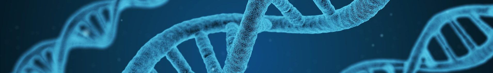 Bild på blå DNA-spiraler