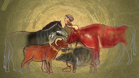 Målning av en människa omgiven av domensticerade djur