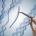 En hand håller i en pincett som tar bort en bit av DNA ur en DNA-spiral
