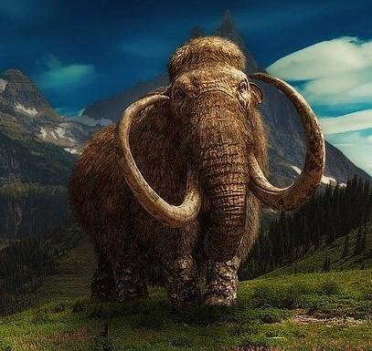 Bild på mammut i bergslandskap.